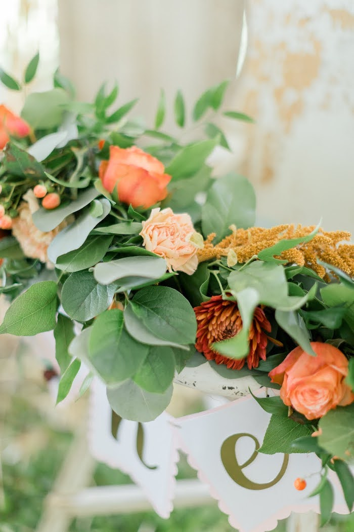 Fall Floral Garland from a Little Pumpkin Birthday Party on Kara's Party Ideas | KarasPartyIdeas.com (42)