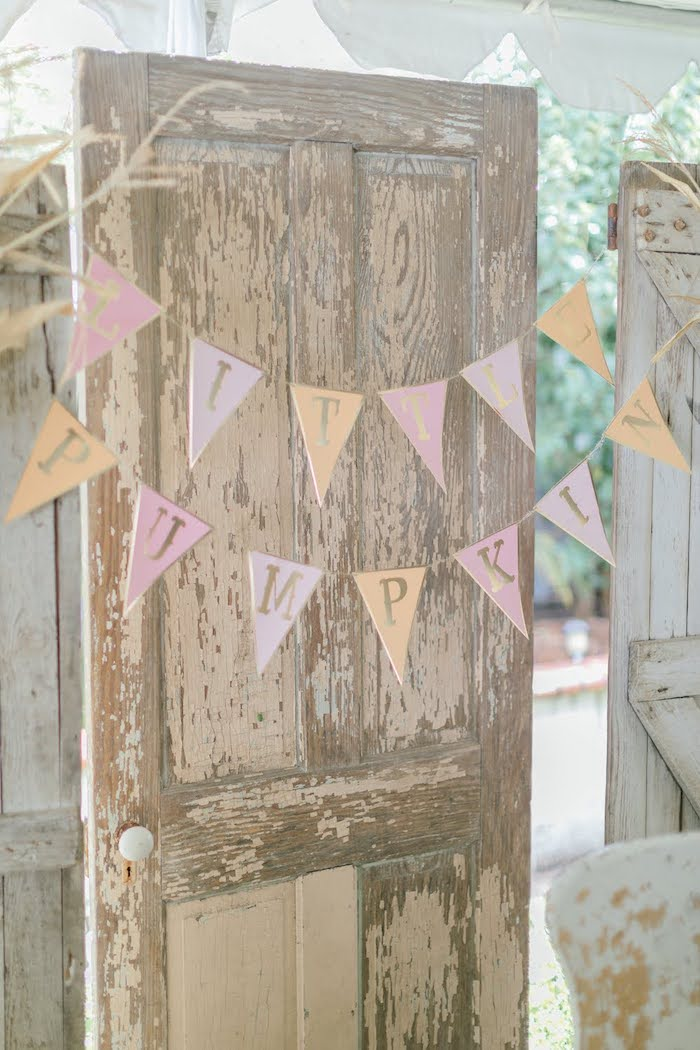 Rustic Door Backdrop from a Little Pumpkin Birthday Party on Kara's Party Ideas | KarasPartyIdeas.com (41)