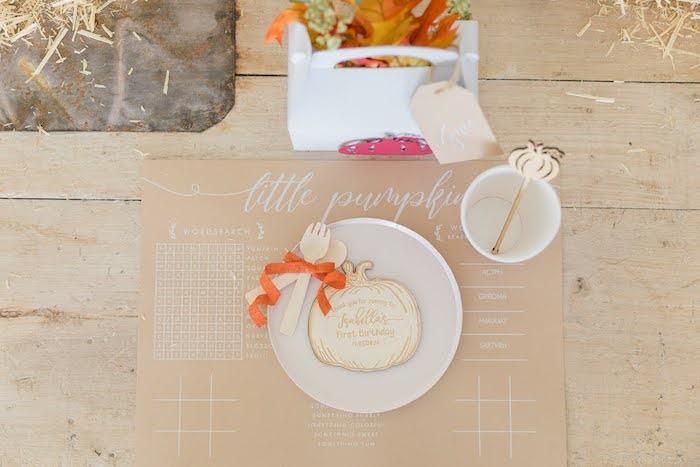 Pumpkin-inspired Kid Table Setting from a Little Pumpkin Birthday Party on Kara's Party Ideas | KarasPartyIdeas.com (39)