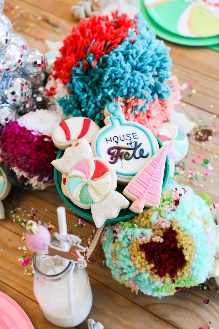 Christmas Cookies + Yarn Pom Balls from a Merry + Bright Christmas Party on Kara's Party Ideas | KarasPartyIdeas.com (9)
