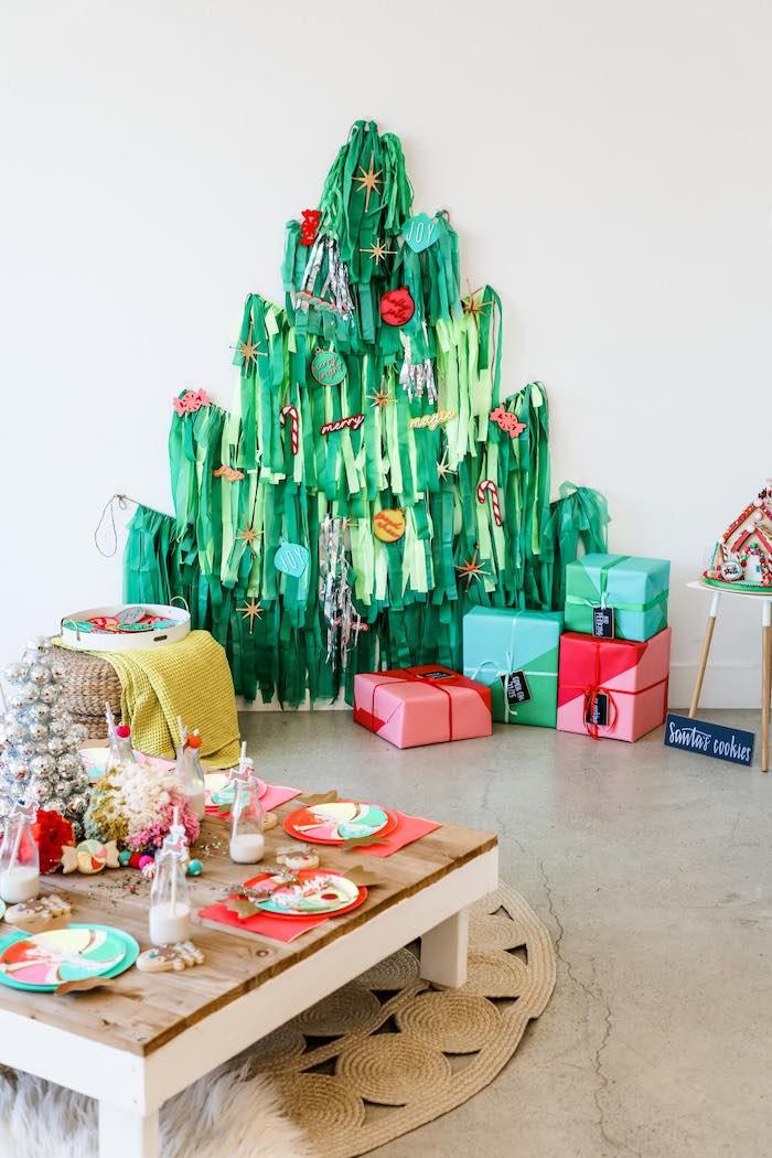Tassel Christmas Tree from a Merry + Bright Christmas Party on Kara's Party Ideas | KarasPartyIdeas.com (4)