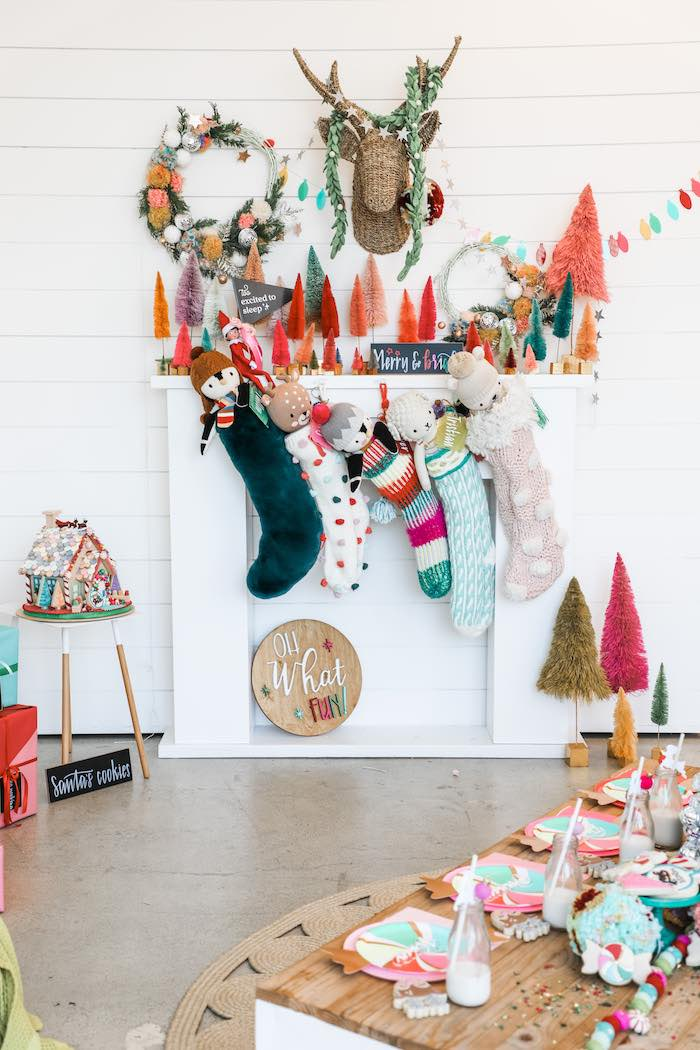 Christmas Fireplace Backdrop from a Merry + Bright Christmas Party on Kara's Party Ideas | KarasPartyIdeas.com (3)