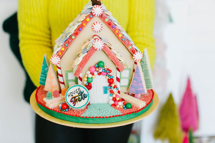 """Gingerbread"" House from a Merry + Bright Christmas Party on Kara's Party Ideas 