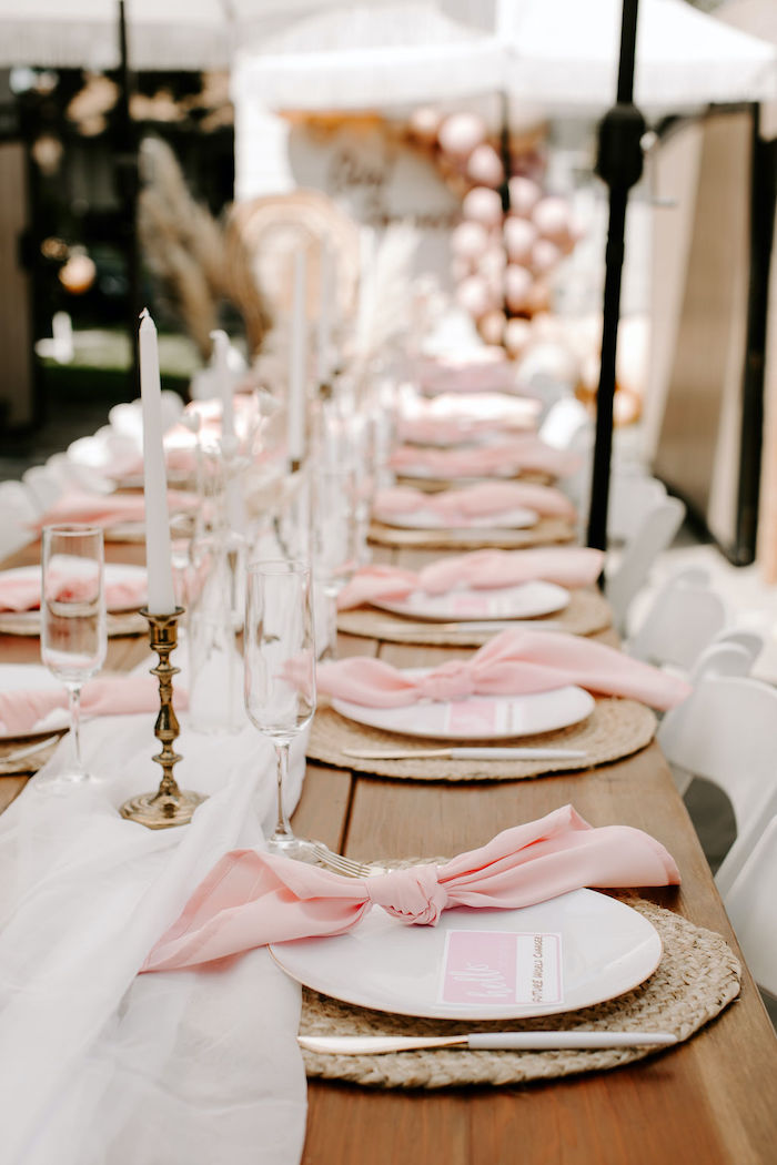 Boho Guest Tablescape from a Muted Pink Boho Baby Shower on Kara's Party Ideas | KarasPartyIdeas.com (36)