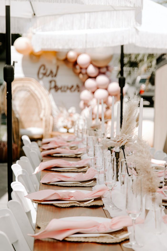 Boho Guest Tablescape from a Muted Pink Boho Baby Shower on Kara's Party Ideas | KarasPartyIdeas.com (34)