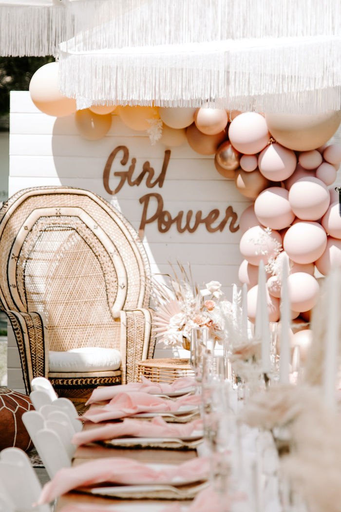 Boho Girl Power Backdrop from a Muted Pink Boho Baby Shower on Kara's Party Ideas | KarasPartyIdeas.com (33)