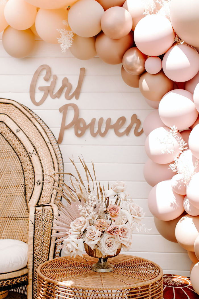 Boho Girl Power Backdrop from a Muted Pink Boho Baby Shower on Kara's Party Ideas | KarasPartyIdeas.com (32)