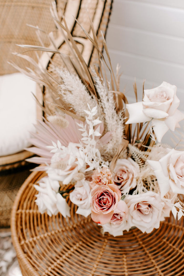 Boho Floral Arrangement from a Muted Pink Boho Baby Shower on Kara's Party Ideas | KarasPartyIdeas.com (31)