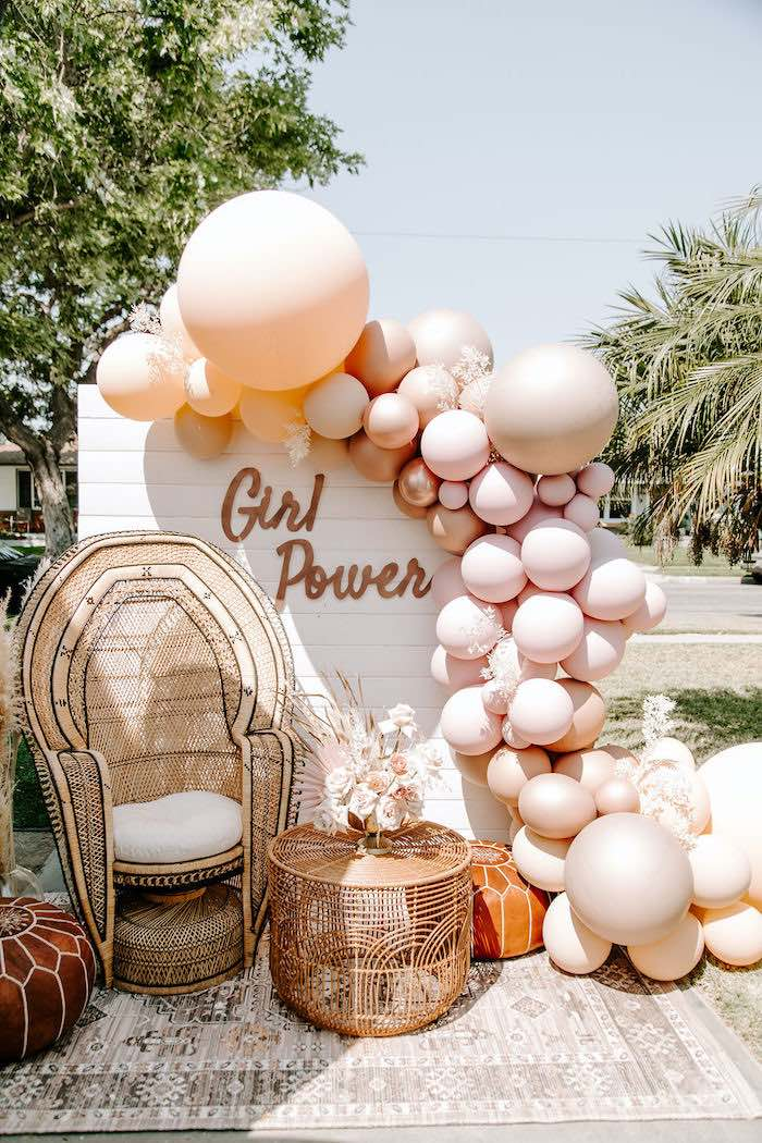 Boho Girl Power Backdrop from a Muted Pink Boho Baby Shower on Kara's Party Ideas | KarasPartyIdeas.com (30)