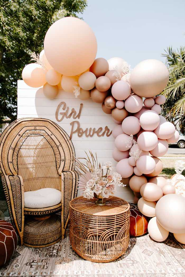 Boho Girl Power Backdrop from a Muted Pink Boho Baby Shower on Kara's Party Ideas | KarasPartyIdeas.com (29)