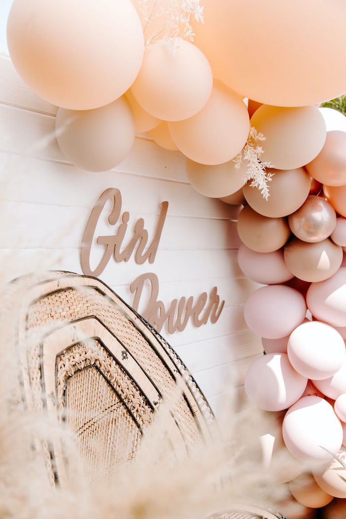 Boho Girl Power Backdrop from a Muted Pink Boho Baby Shower on Kara's Party Ideas | KarasPartyIdeas.com (28)
