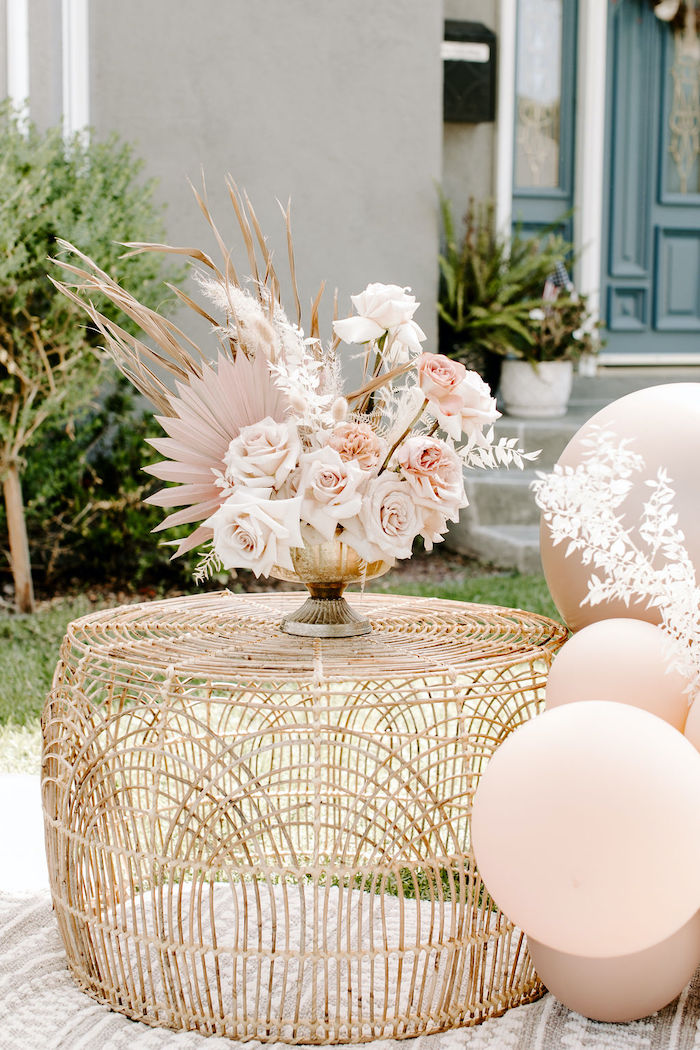 Boho Table from a Muted Pink Boho Baby Shower on Kara's Party Ideas | KarasPartyIdeas.com (23)