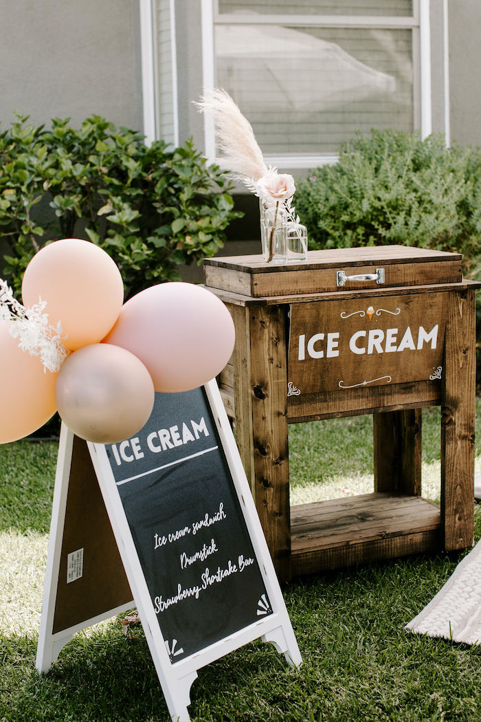 Ice Cream Stand from a Muted Pink Boho Baby Shower on Kara's Party Ideas | KarasPartyIdeas.com (22)