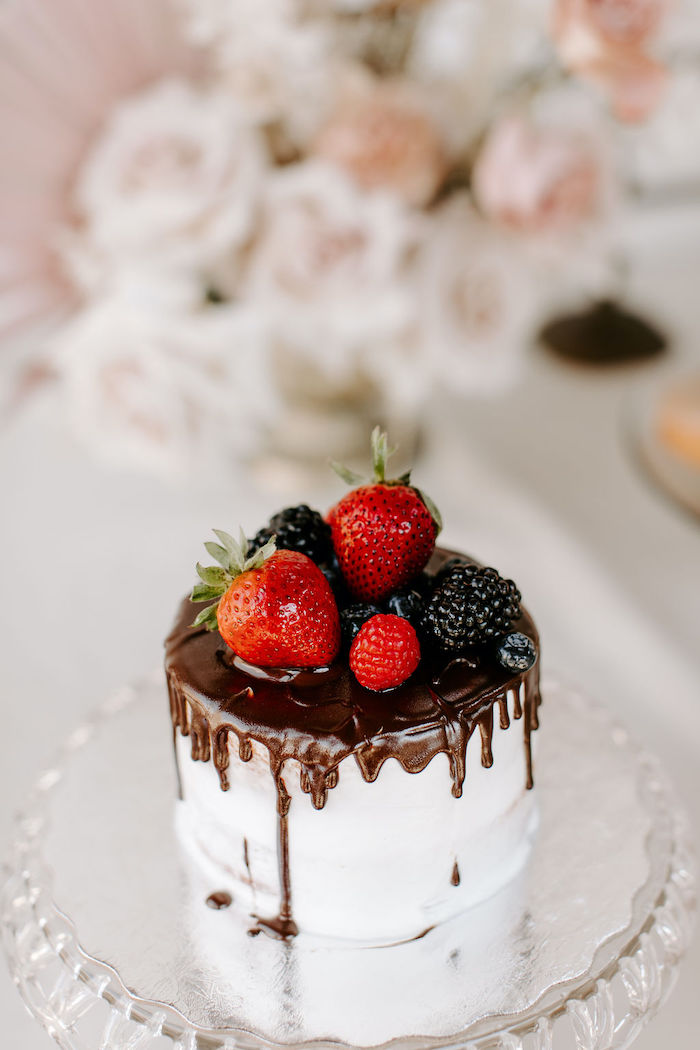 Strawberry-topped Chocolate Drip Cake from a Muted Pink Boho Baby Shower on Kara's Party Ideas | KarasPartyIdeas.com (21)