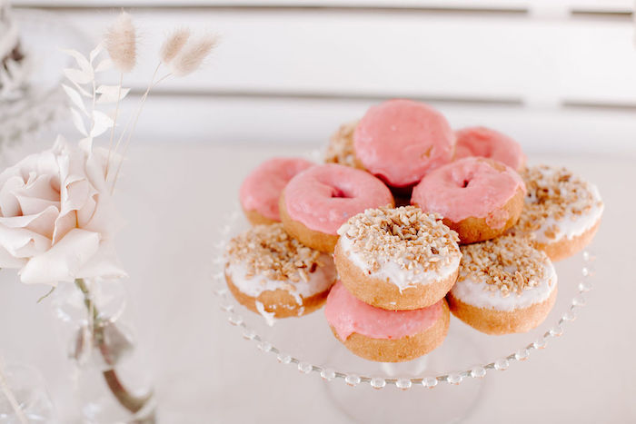 Pink + White Donuts from a Muted Pink Boho Baby Shower on Kara's Party Ideas | KarasPartyIdeas.com (17)