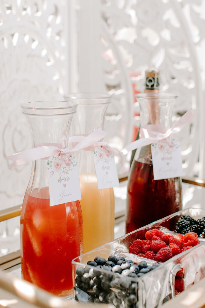 Mimosa Bar from a Muted Pink Boho Baby Shower on Kara's Party Ideas | KarasPartyIdeas.com (44)
