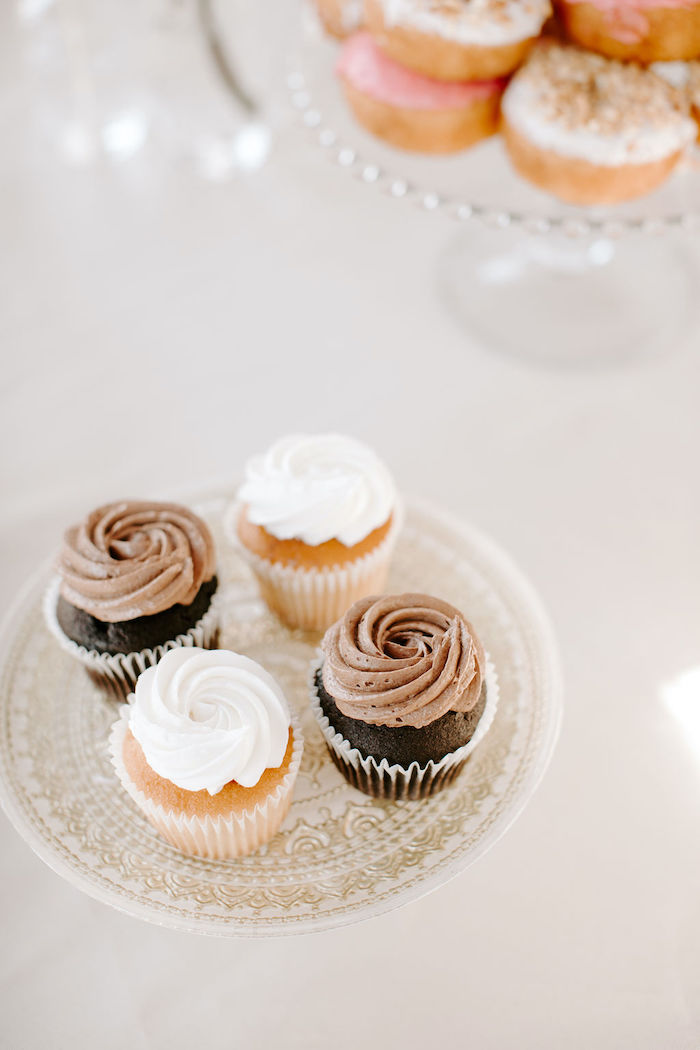 Chocolate and Vanilla Cupcakes from a Muted Pink Boho Baby Shower on Kara's Party Ideas | KarasPartyIdeas.com (16)