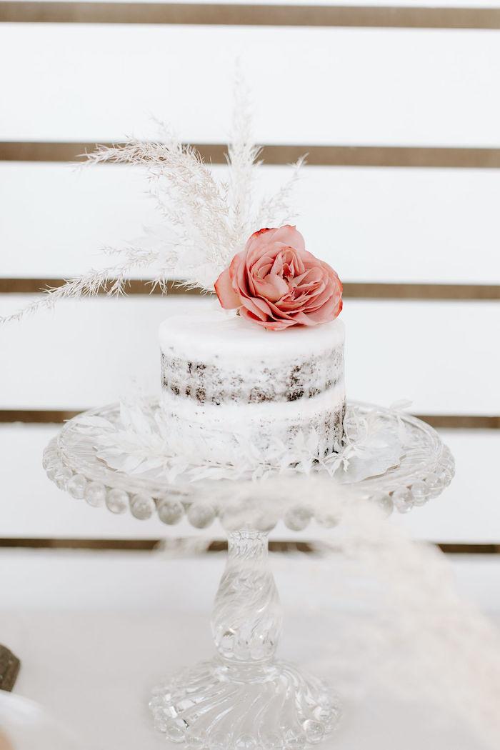 Beautiful Boho Cake from a Muted Pink Boho Baby Shower on Kara's Party Ideas | KarasPartyIdeas.com (14)