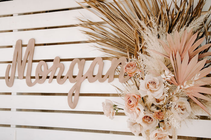 Boho Backdrop from a Muted Pink Boho Baby Shower on Kara's Party Ideas | KarasPartyIdeas.com (13)
