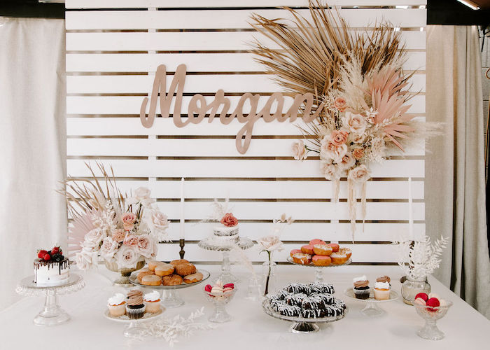 Boho Dessert Table from a Muted Pink Boho Baby Shower on Kara's Party Ideas | KarasPartyIdeas.com (12)