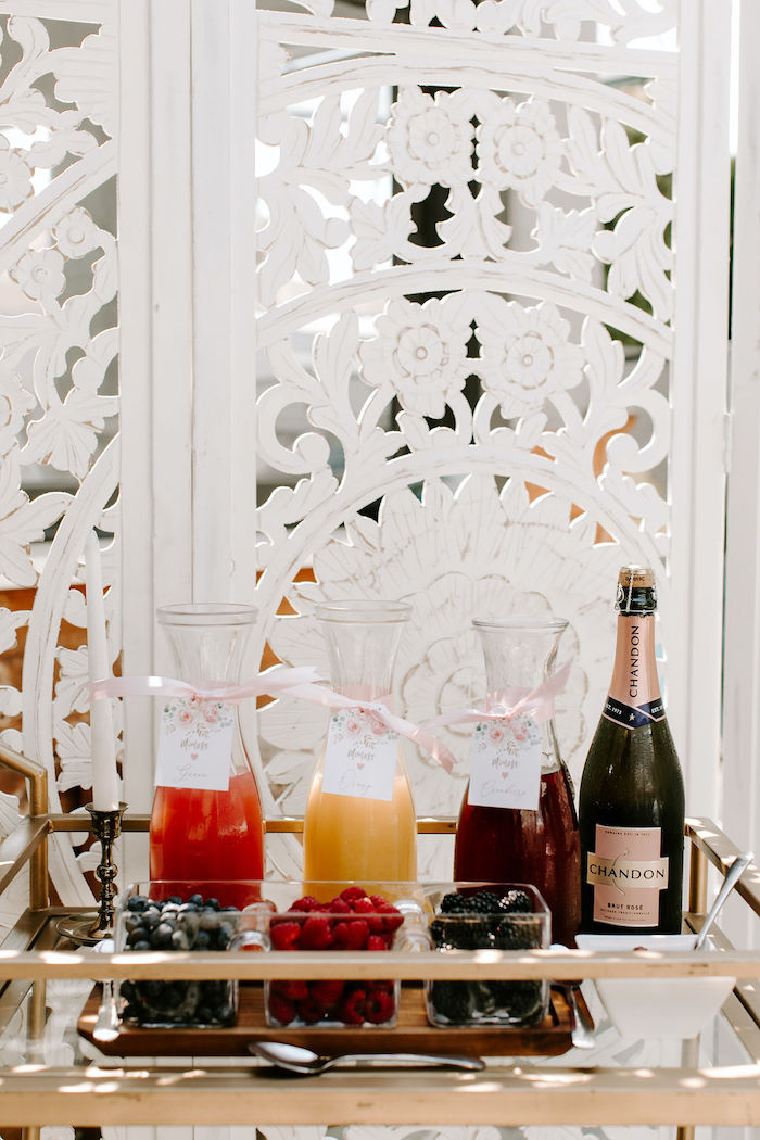Mimosa Bar from a Muted Pink Boho Baby Shower on Kara's Party Ideas | KarasPartyIdeas.com (43)