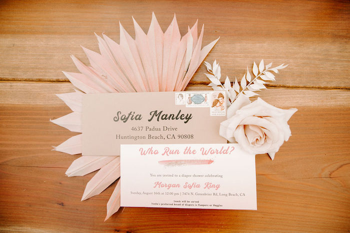 Boho Party Invite from a Muted Pink Boho Baby Shower on Kara's Party Ideas | KarasPartyIdeas.com (5)