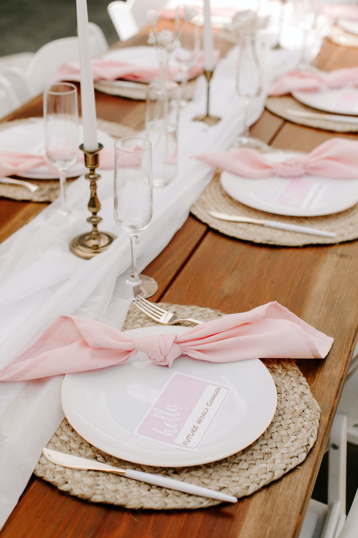 Boho Table Setting from a Muted Pink Boho Baby Shower on Kara's Party Ideas | KarasPartyIdeas.com (42)