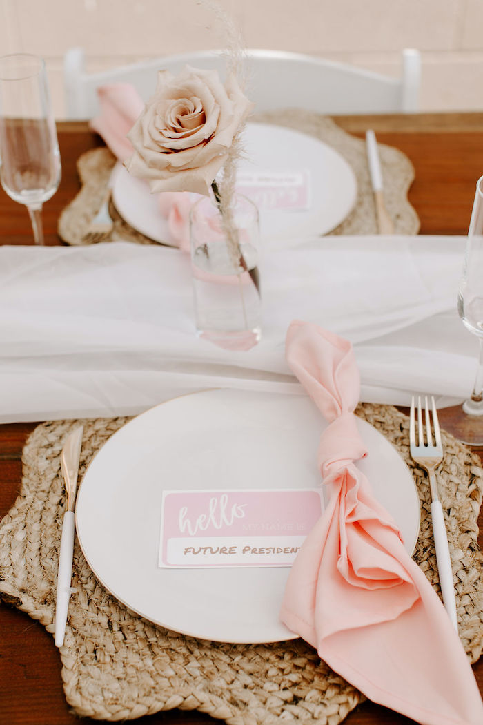 Boho Table Setting from a Muted Pink Boho Baby Shower on Kara's Party Ideas | KarasPartyIdeas.com (41)