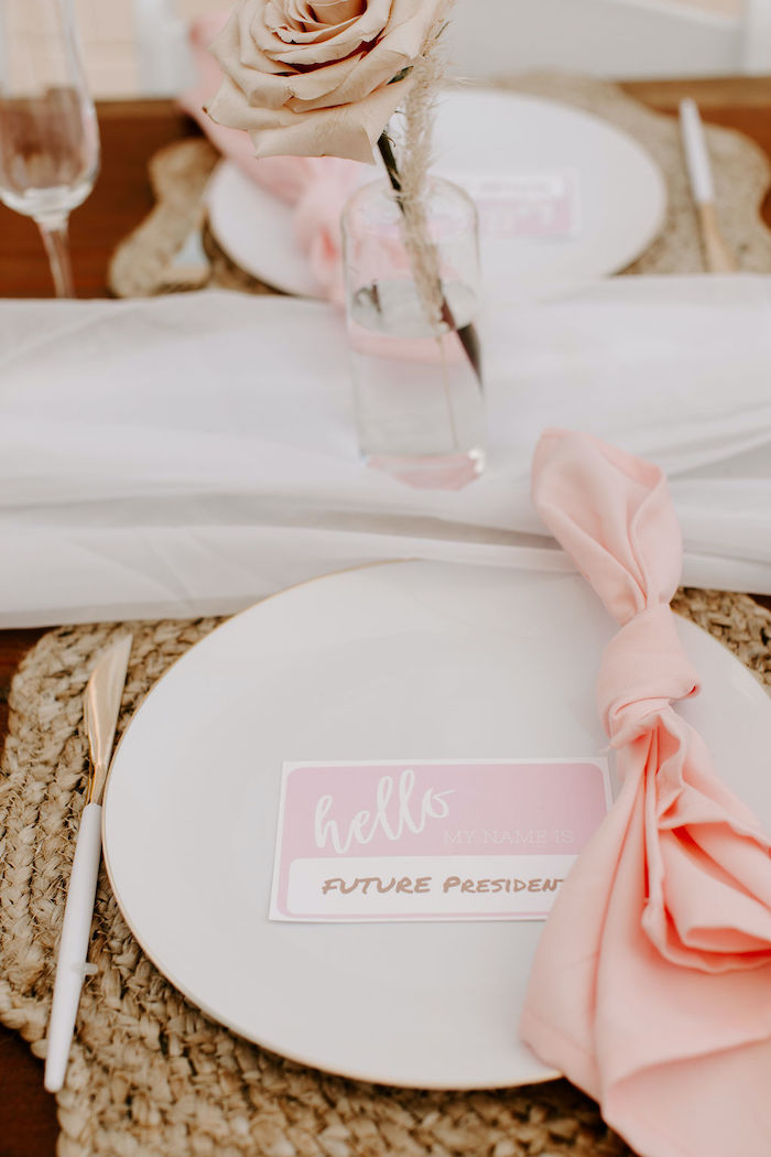 Boho Table Setting from a Muted Pink Boho Baby Shower on Kara's Party Ideas | KarasPartyIdeas.com (40)