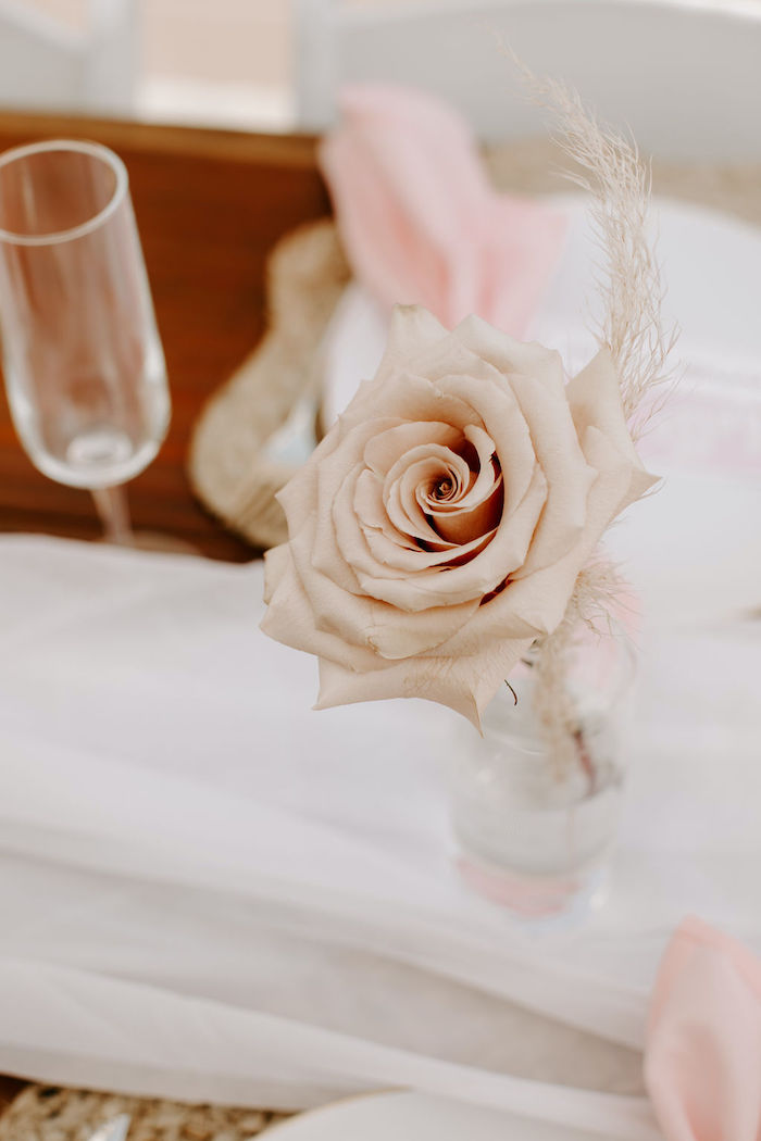 Boho Rose Centerpiece from a Muted Pink Boho Baby Shower on Kara's Party Ideas | KarasPartyIdeas.com (39)