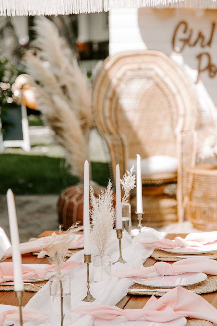 Boho Bloom + Candlestick-lined Guest Table from a Muted Pink Boho Baby Shower on Kara's Party Ideas | KarasPartyIdeas.com (38)
