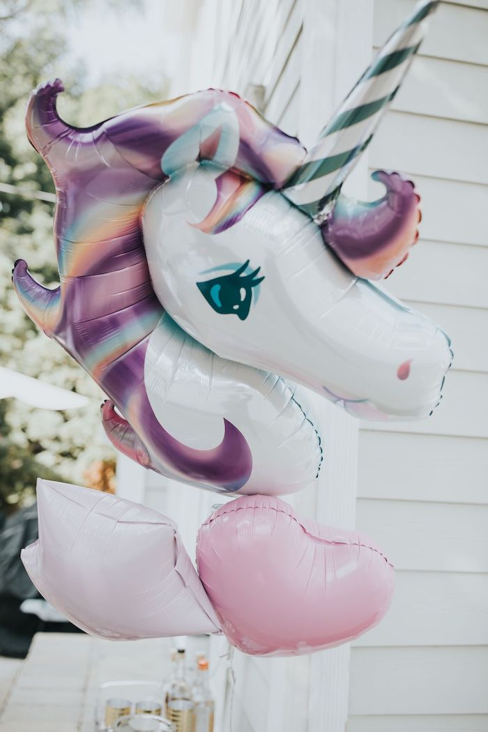 Unicorn Balloon Bunch from a Pastel Unicorn 1st Birthday Party on Kara's Party Ideas | KarasPartyIdeas.com (16)