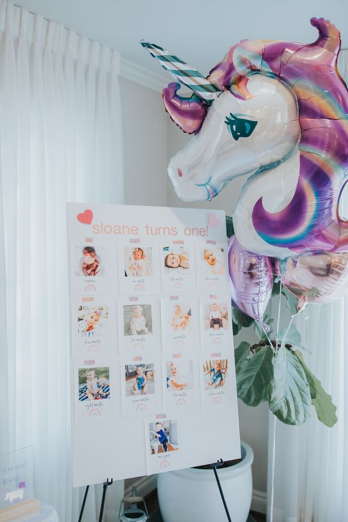 First Year Photo Board from a Pastel Unicorn 1st Birthday Party on Kara's Party Ideas | KarasPartyIdeas.com (10)