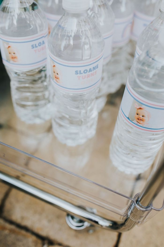Custom Water Bottle Labels from a Pastel Unicorn 1st Birthday Party on Kara's Party Ideas | KarasPartyIdeas.com (7)