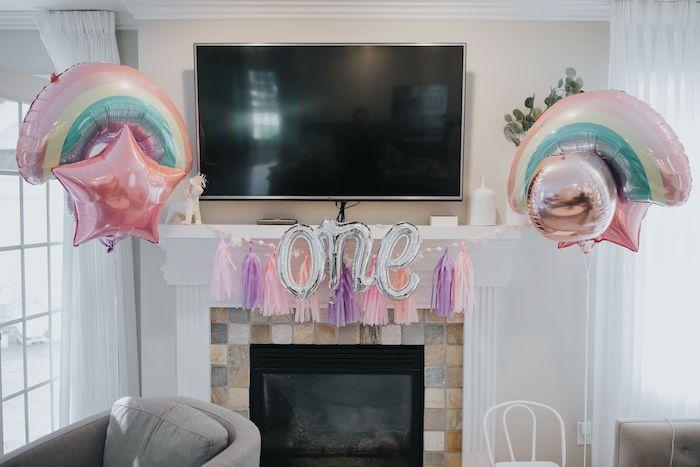 Balloon Decor from a Pastel Unicorn 1st Birthday Party on Kara's Party Ideas | KarasPartyIdeas.com (25)