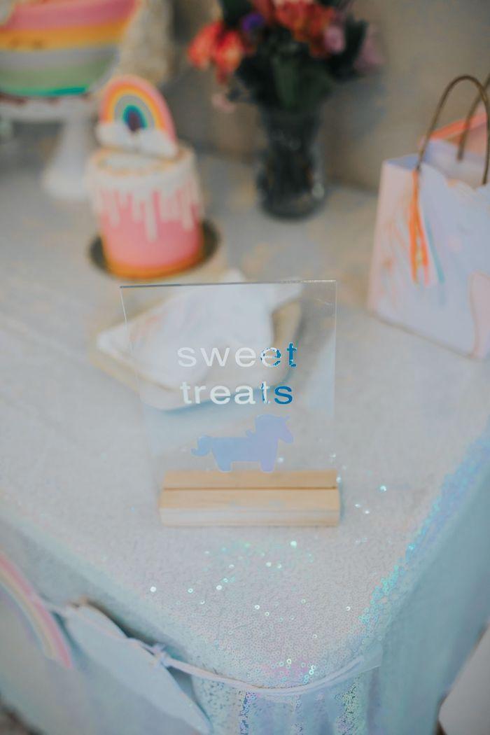 Acrylic Rainbow Sweet Table Signage from a Pastel Unicorn 1st Birthday Party on Kara's Party Ideas | KarasPartyIdeas.com (5)