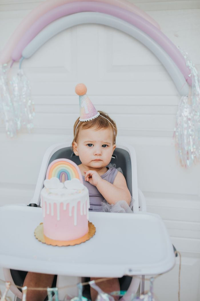 Rainbow High Chair + Smash Cake from a Pastel Unicorn 1st Birthday Party on Kara's Party Ideas | KarasPartyIdeas.com (23)