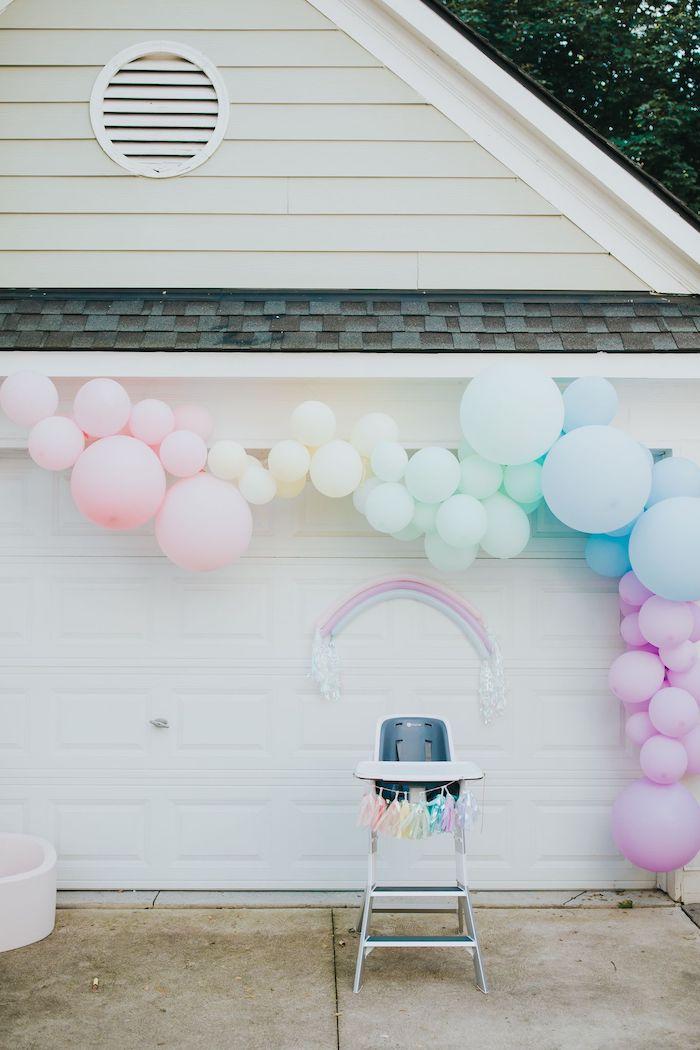 Rainbow Balloon Garland + Highchair from a Pastel Unicorn 1st Birthday Party on Kara's Party Ideas | KarasPartyIdeas.com (18)