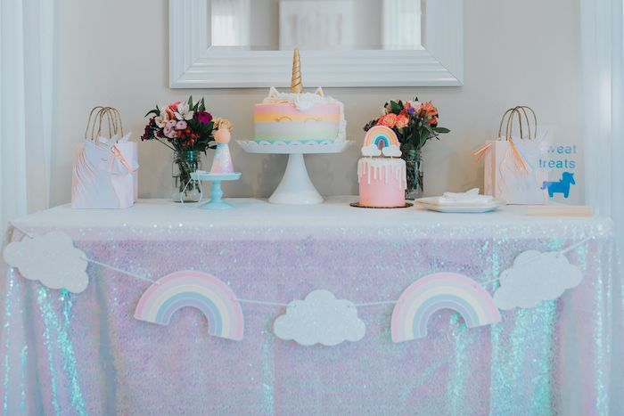 Unicorn Themed Dessert Table from a Pastel Unicorn 1st Birthday Party on Kara's Party Ideas | KarasPartyIdeas.com (17)