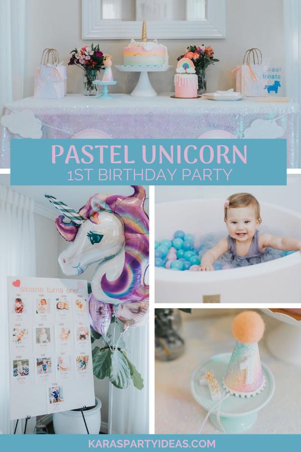 Pastel Unicorn 1st Birthday Party via Kara's Party Ideas - KarasPartyIdeas.com