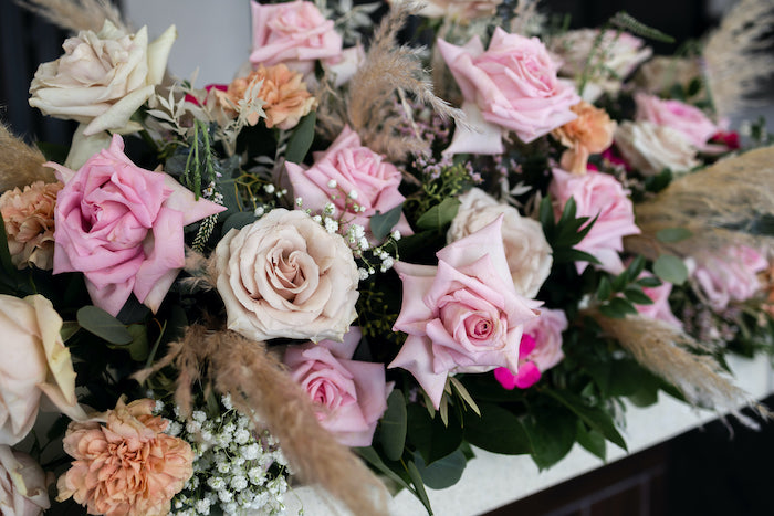 Florals + Blooms from a Peach & Gold Baptism Party on Kara's Party Ideas | KarasPartyIdeas.com (10)