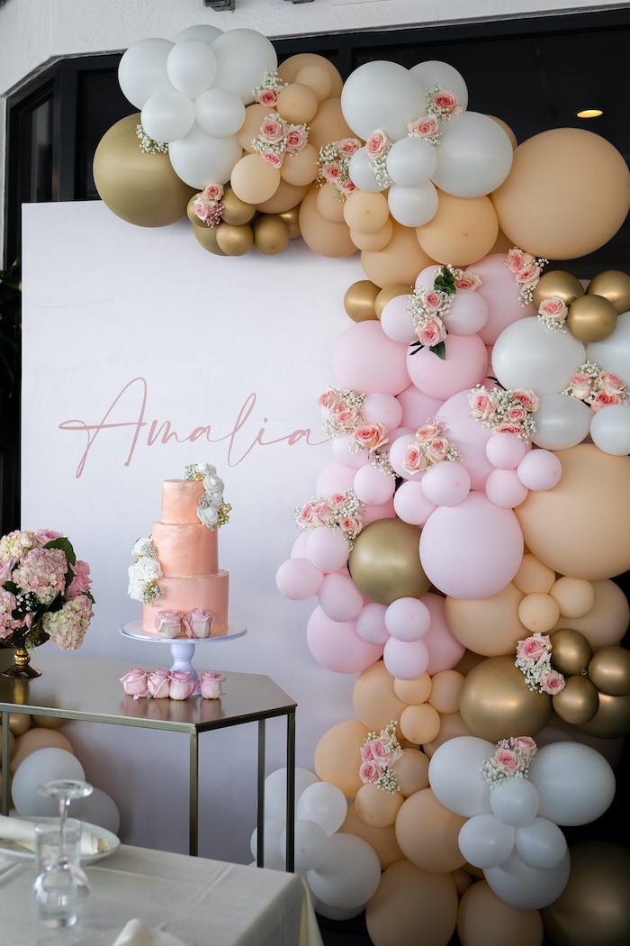 Cake Table + Balloon Garland from a Peach & Gold Baptism Party on Kara's Party Ideas | KarasPartyIdeas.com (8)