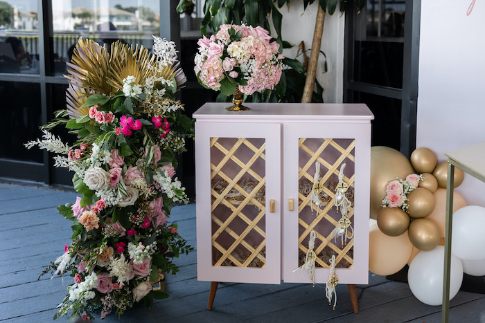 Lattice Shelf from a Peach & Gold Baptism Party on Kara's Party Ideas | KarasPartyIdeas.com (5)