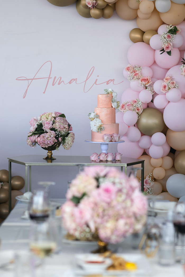 Cake Table from a Peach & Gold Baptism Party on Kara's Party Ideas | KarasPartyIdeas.com (3)