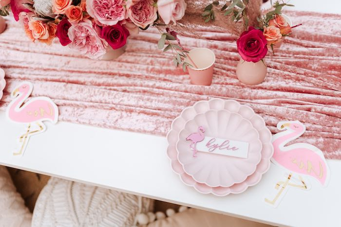 Scallop Plate Flamingo-inspired Table Setting from a Pink Flamingle Party on Kara's Party Ideas | KarasPartyIdeas.com (31)