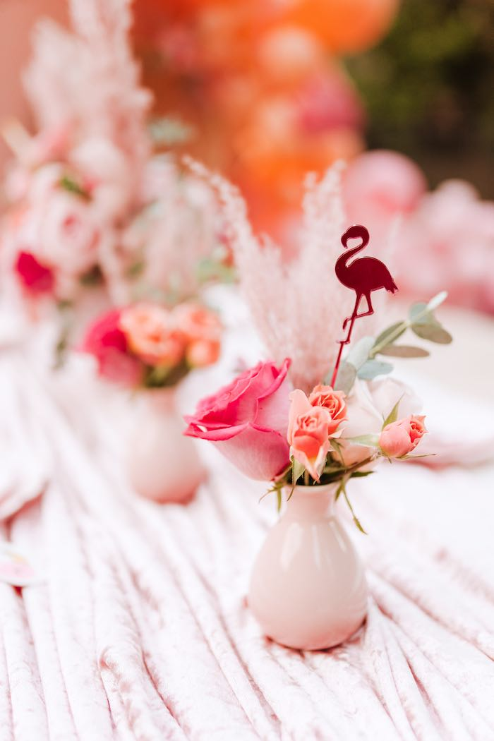 Flamingo-inspired Floral Arrangement from a Pink Flamingle Party on Kara's Party Ideas | KarasPartyIdeas.com (30)