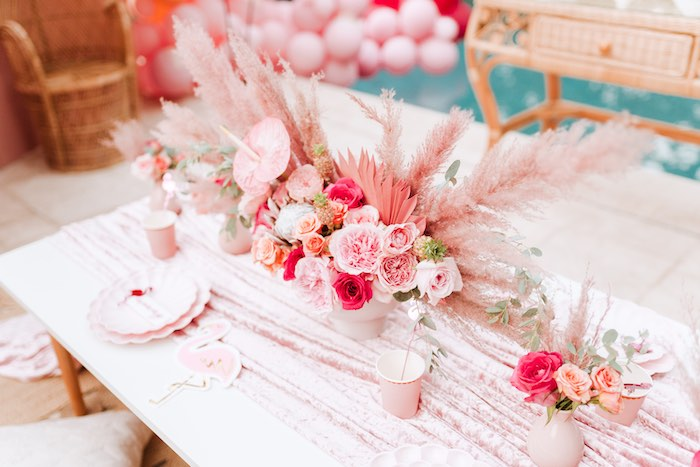 Flamingo-inspired Guest Table from a Pink Flamingle Party on Kara's Party Ideas | KarasPartyIdeas.com (27)