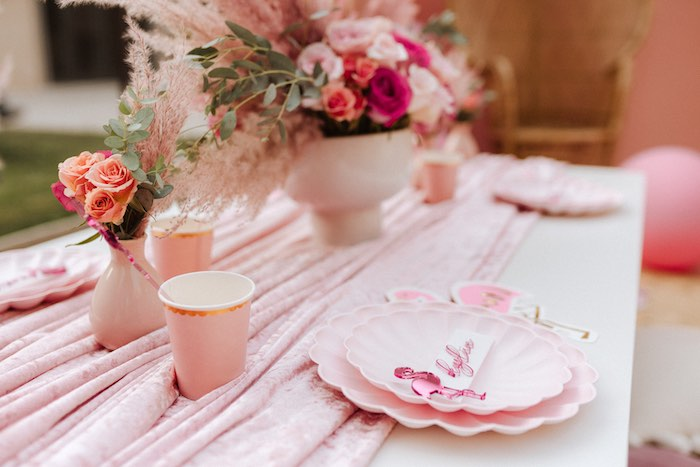 Flamingo Themed Table Setting from a Pink Flamingle Party on Kara's Party Ideas | KarasPartyIdeas.com (45)