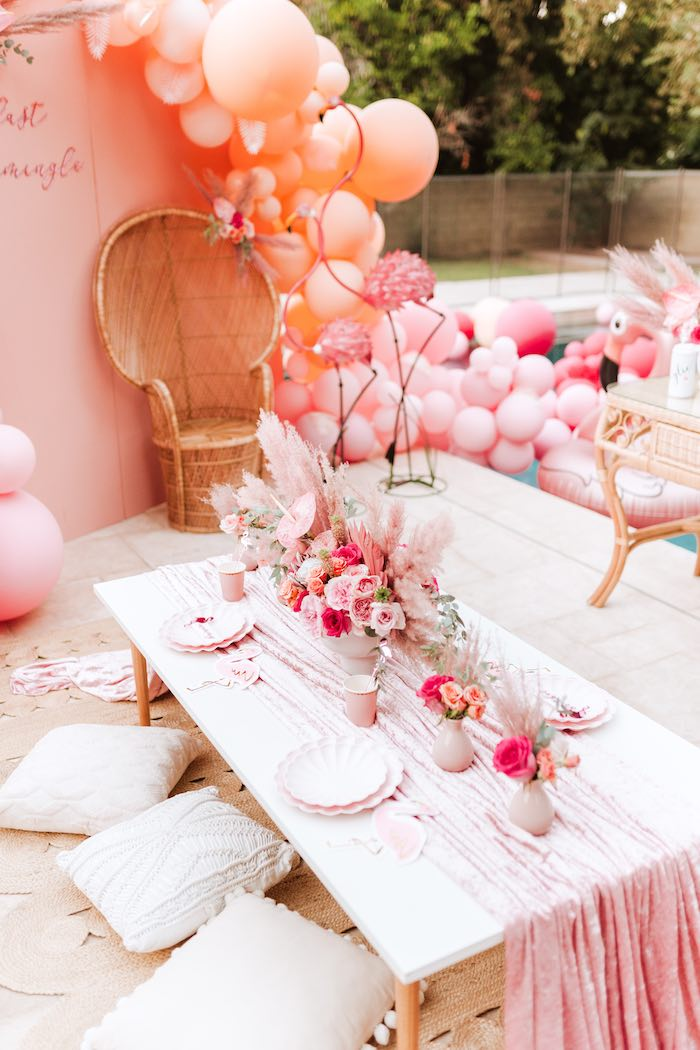 Flamingo-inspired Guest Table from a Pink Flamingle Party on Kara's Party Ideas | KarasPartyIdeas.com (26)