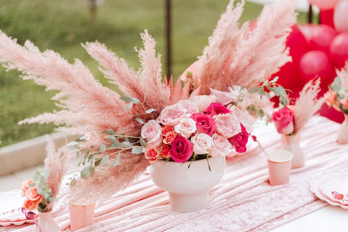 Flamingo-inspired Floral Centerpiece from a Pink Flamingle Party on Kara's Party Ideas | KarasPartyIdeas.com (25)